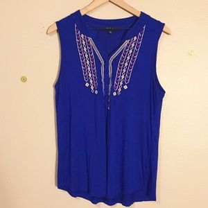 Cable & Gauge Blue Sleeveless Top